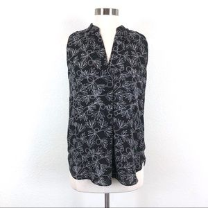 Ann Taylor Loft Black Floral Sleeveless Blouse